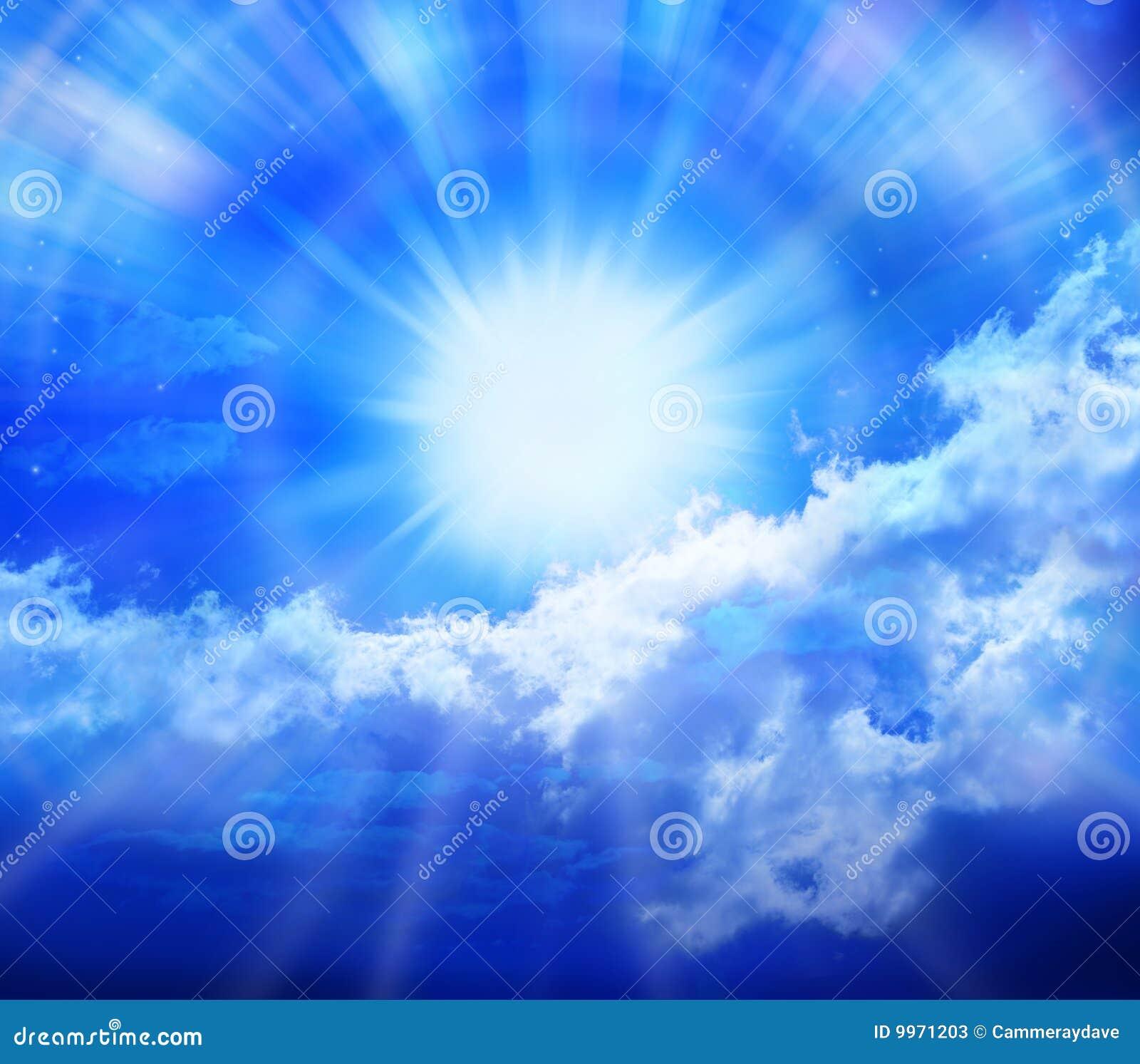 De blauwe Wolken van de Zon van de Hemel