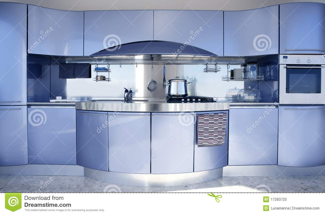 Moderne Keuken Decoratie : Blue and Silver Kitchen