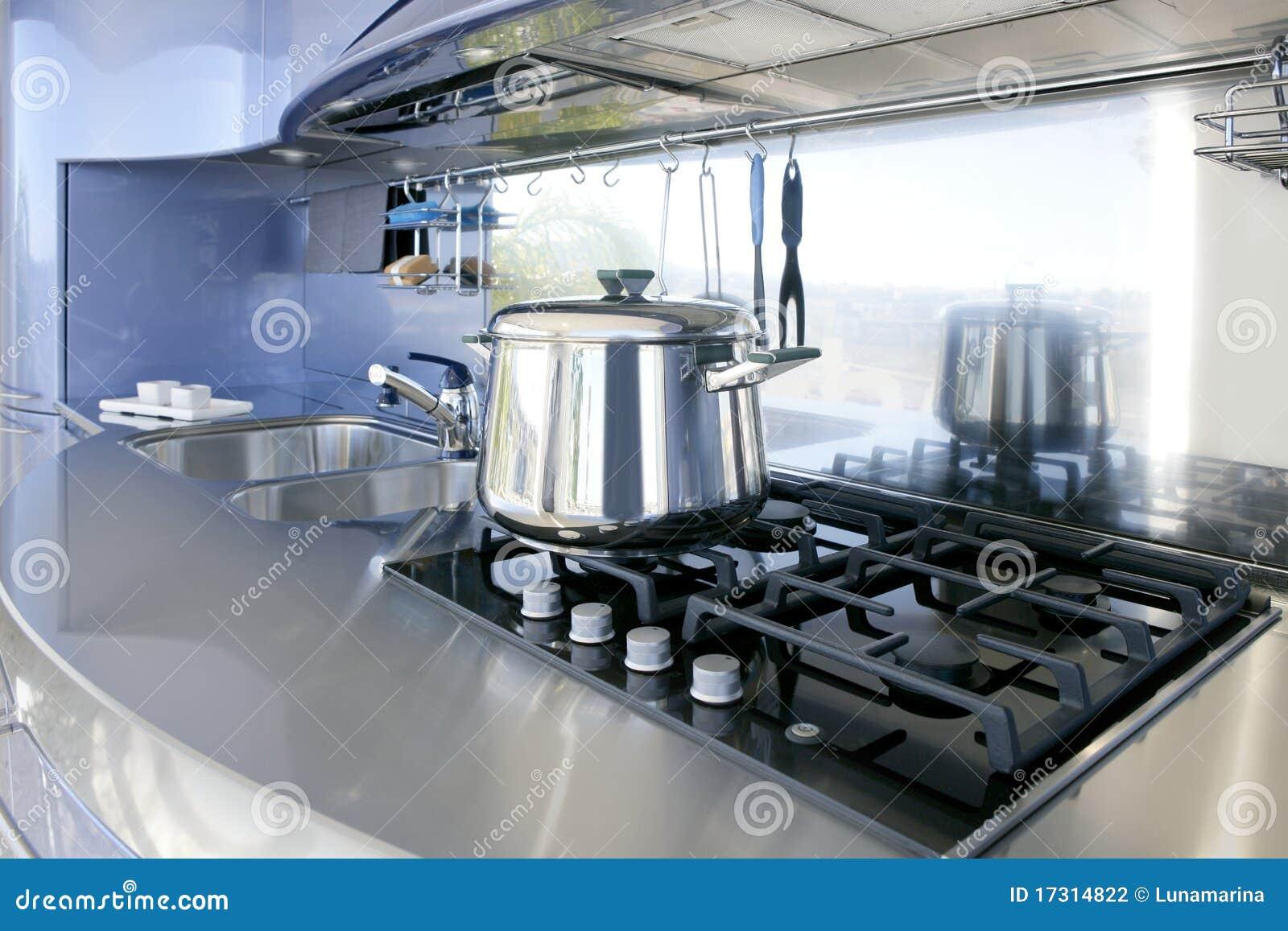 De blauwe zilveren decoratie van de keuken moderne architectuur stock foto afbeelding 17314822 - Decoratie van keukens ...