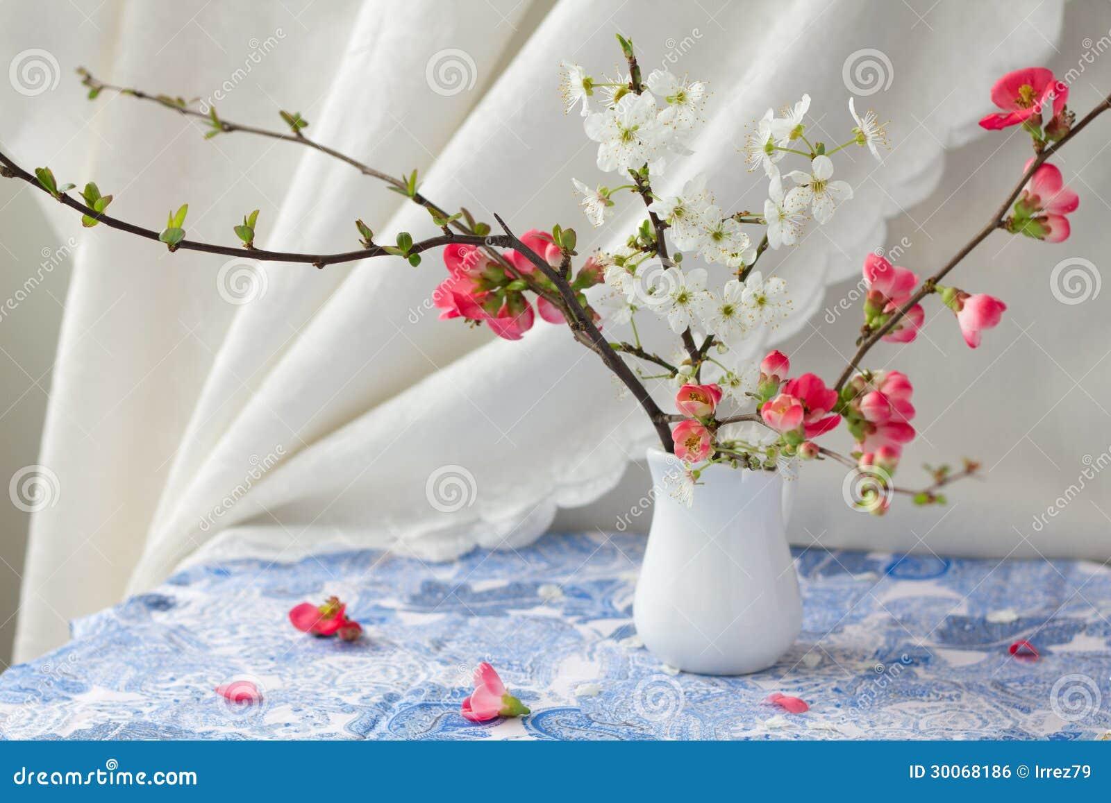 De bloeiende takken van de lente stock foto afbeelding for Decoratie in vaas