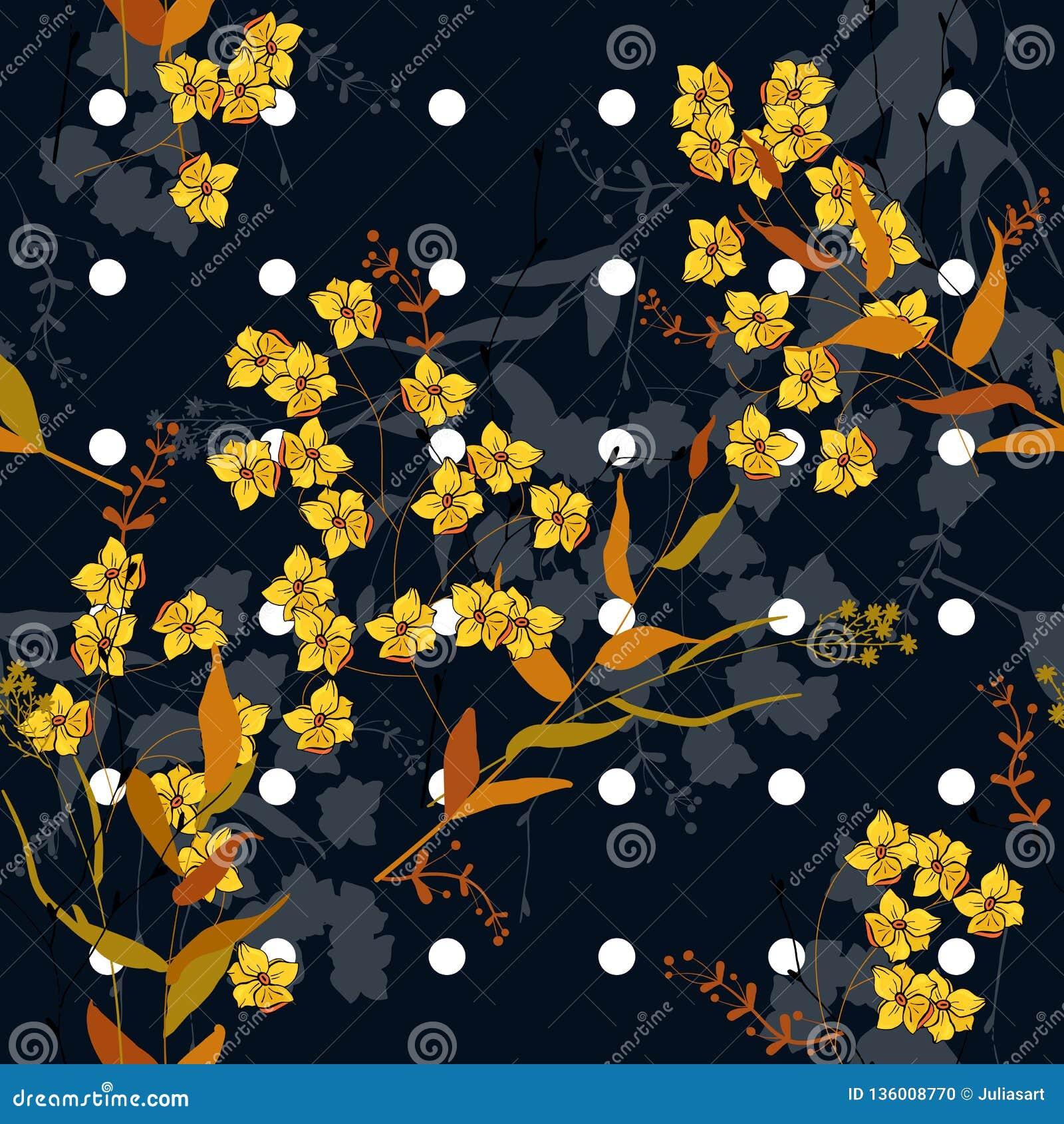 De bloeiende wilde bloemendruk van Memphis Vector illustratie In stippen naadloos patroon met Boheemse hand getrokken bloemen