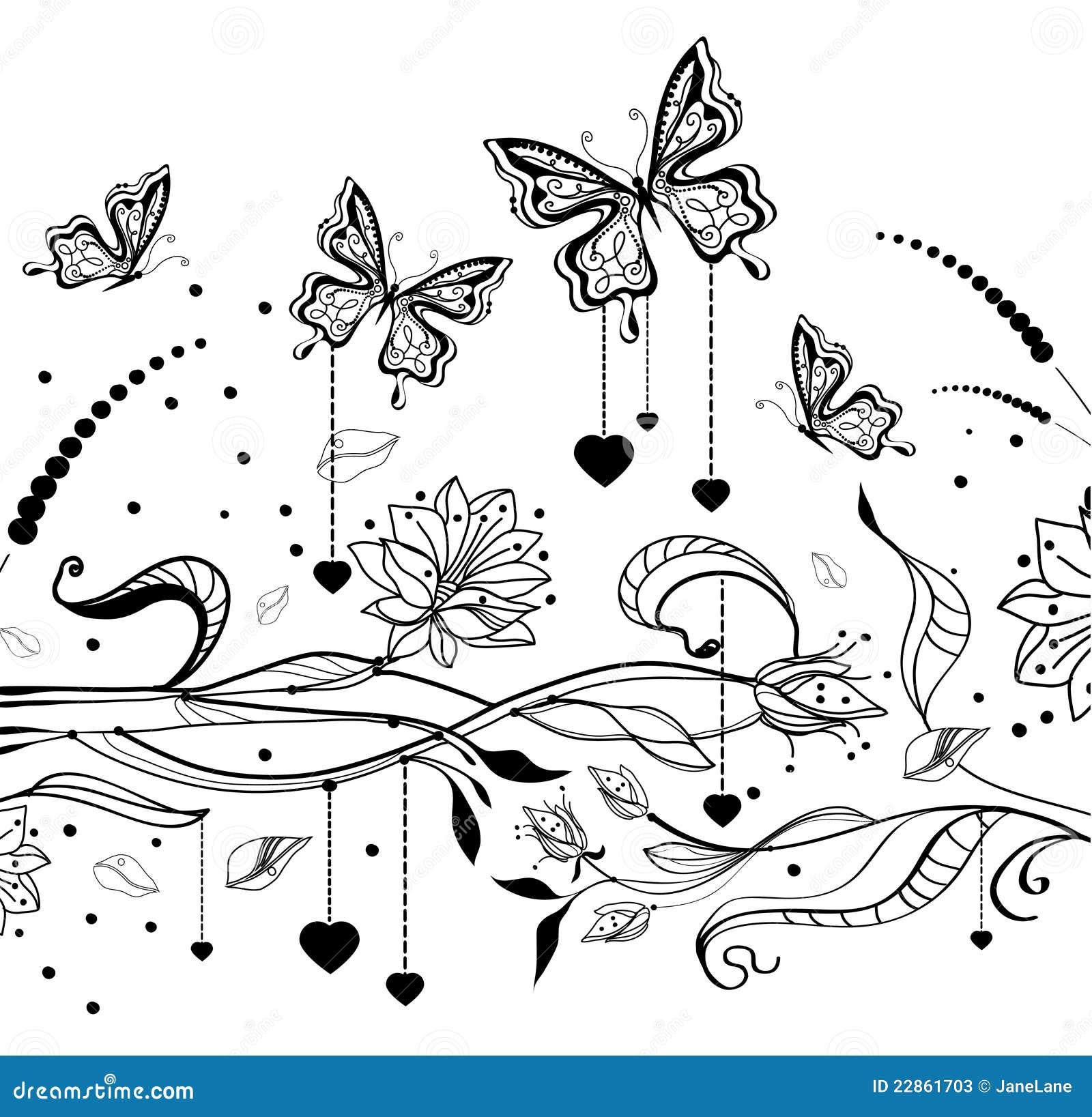 De bloemen achtergrond van de Valentijnskaart met vlinders