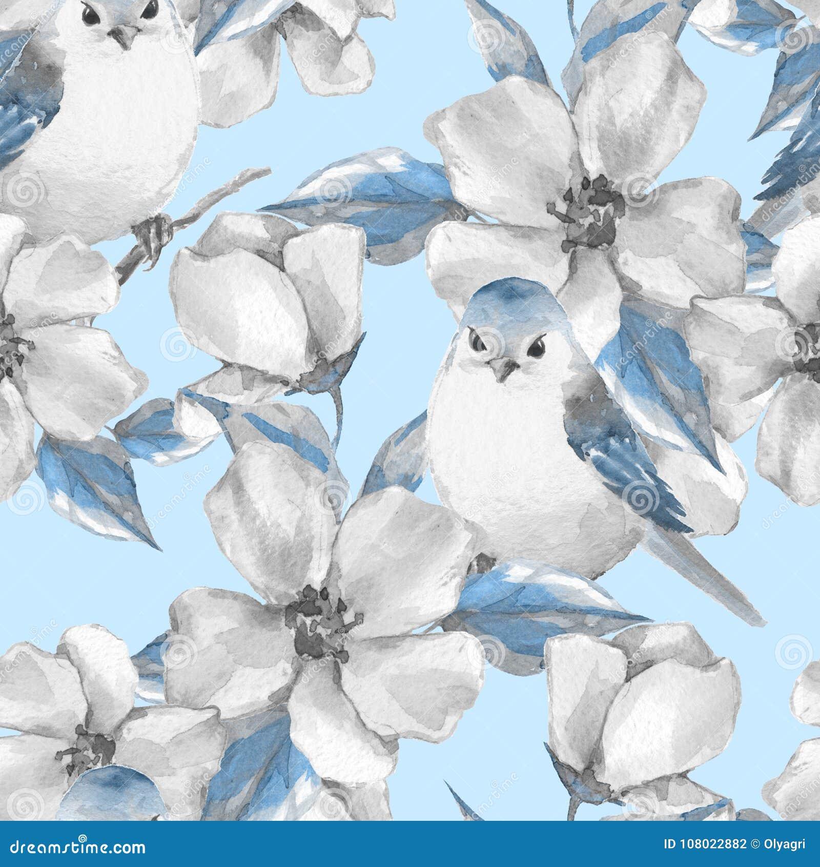 De bloemen en de vogels van de lente Naadloos patroon