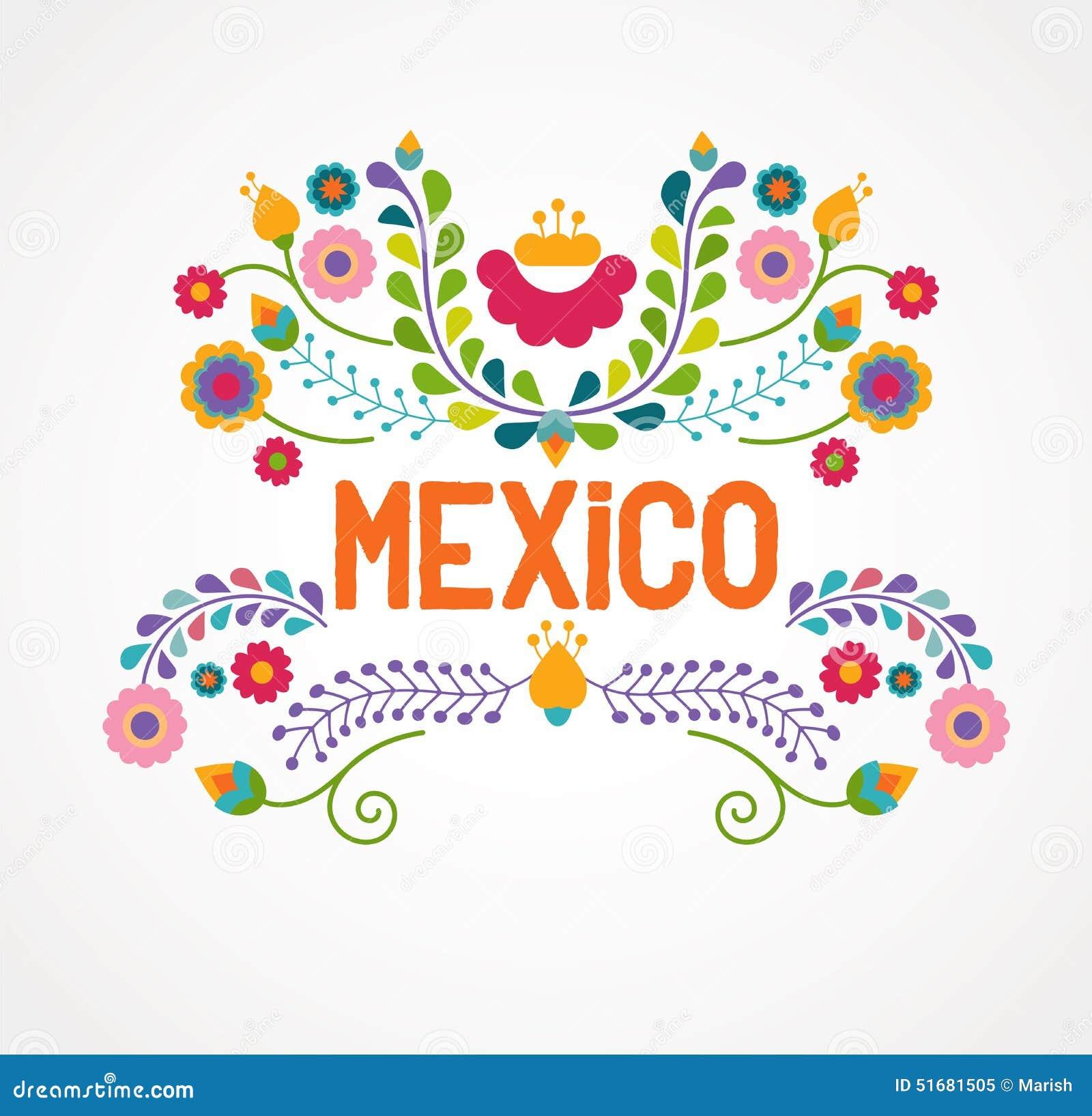 De bloemen, het patroon en de elementen van Mexico