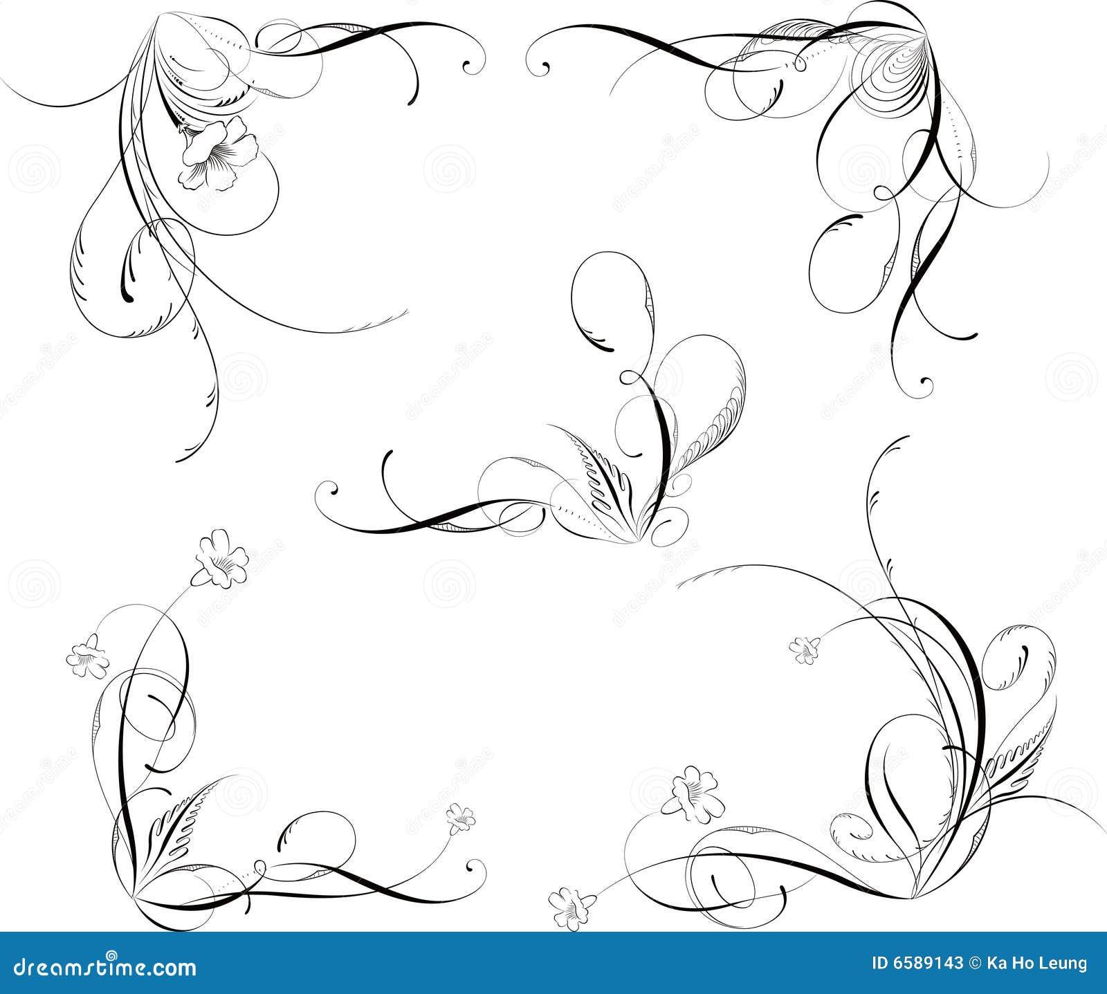 De bloemen hoeken van ontwerpelementen