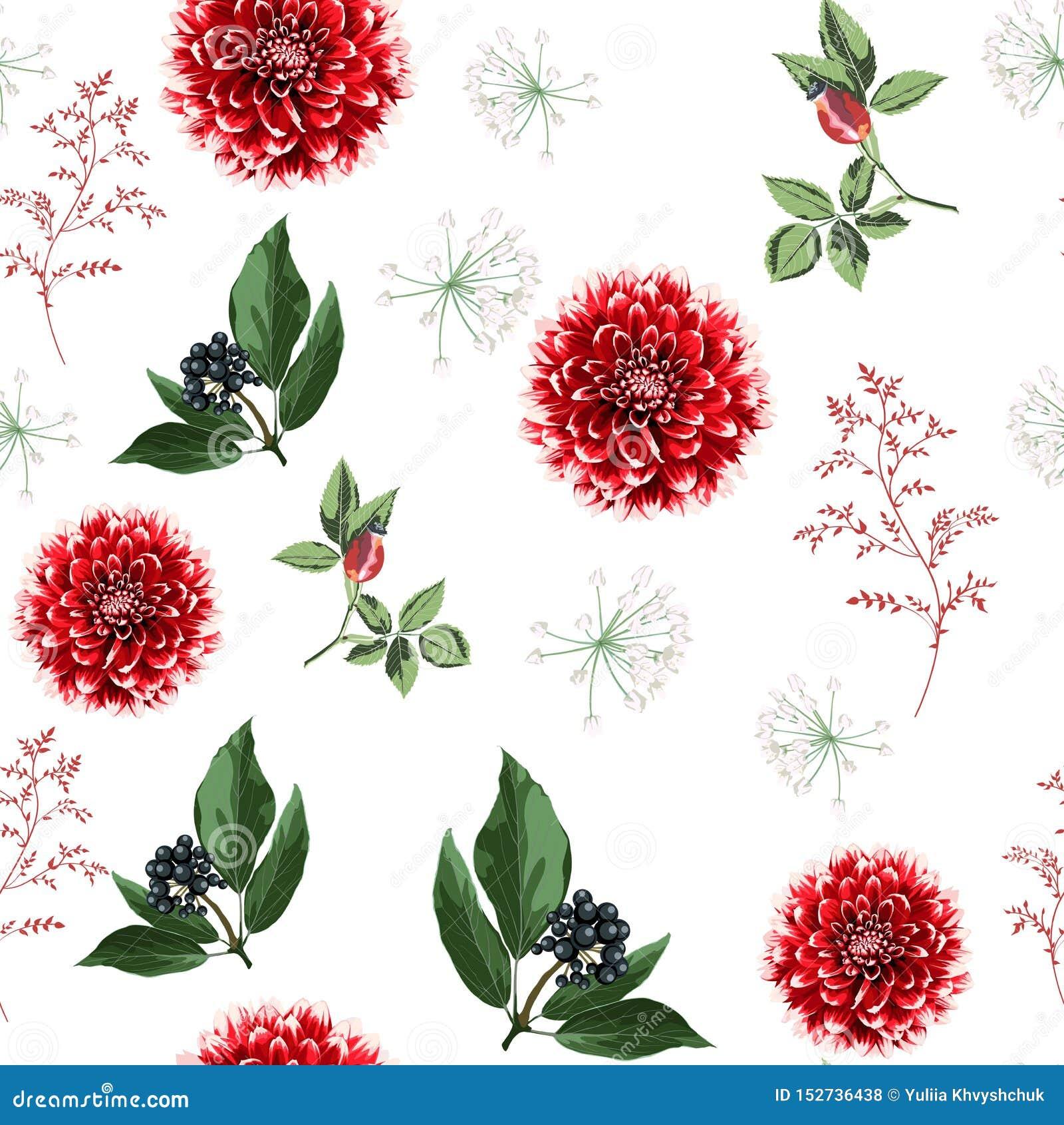 De bloemen, de kruiden en de bessen naadloos patroon van de de herfstdahlia