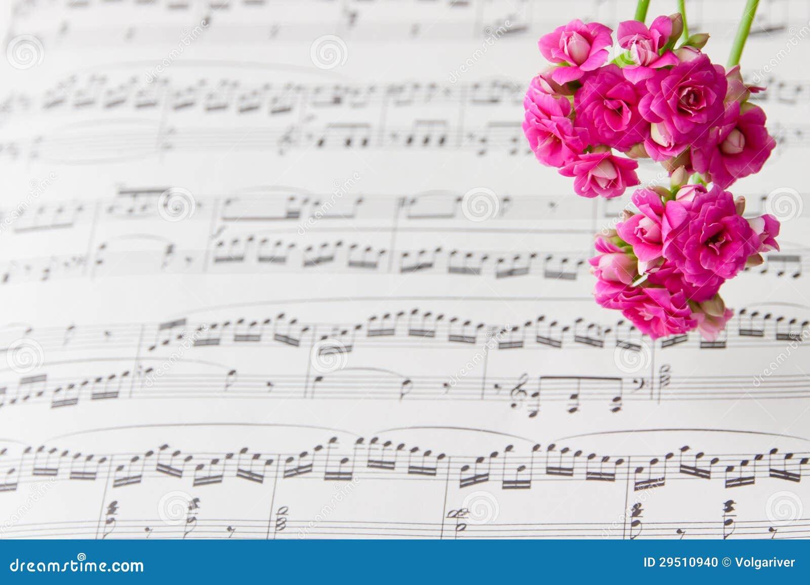 De bloemen op muziek neemt nota van blad, abstracte kunstachtergrond.