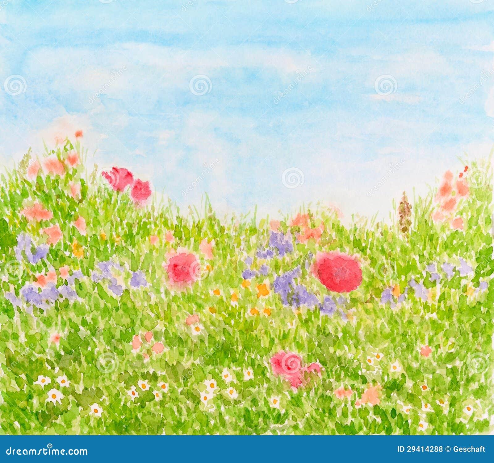 De Bloemen van de zomer op de Weide van het Daglicht, Geschilderde de Hand van de Waterverf