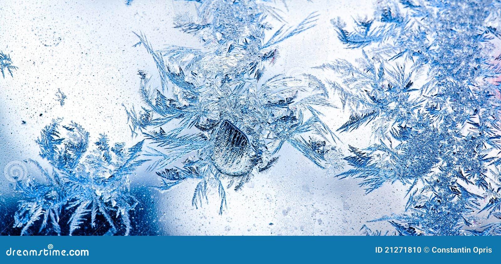 De bloemen van het ijs op venster