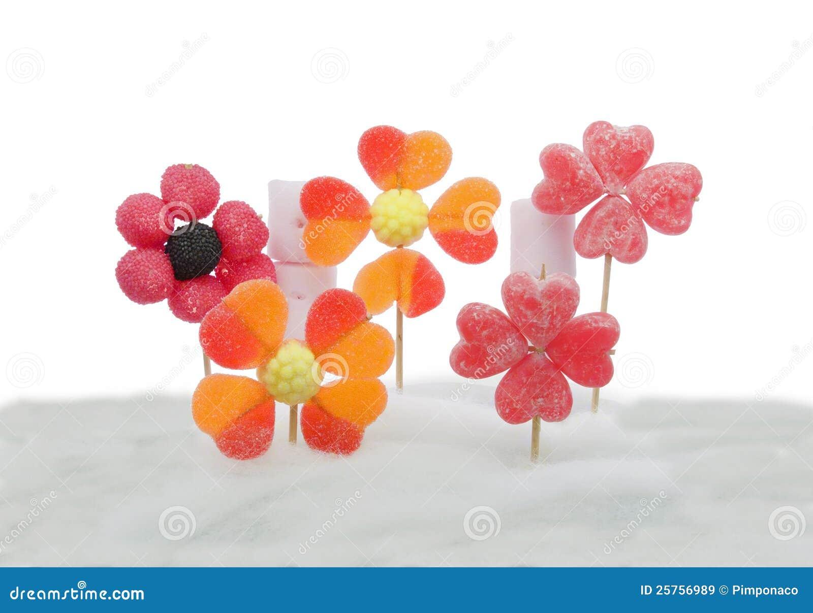 de bloemen van het suikergoed op candyfloss royalty vrije. Black Bedroom Furniture Sets. Home Design Ideas