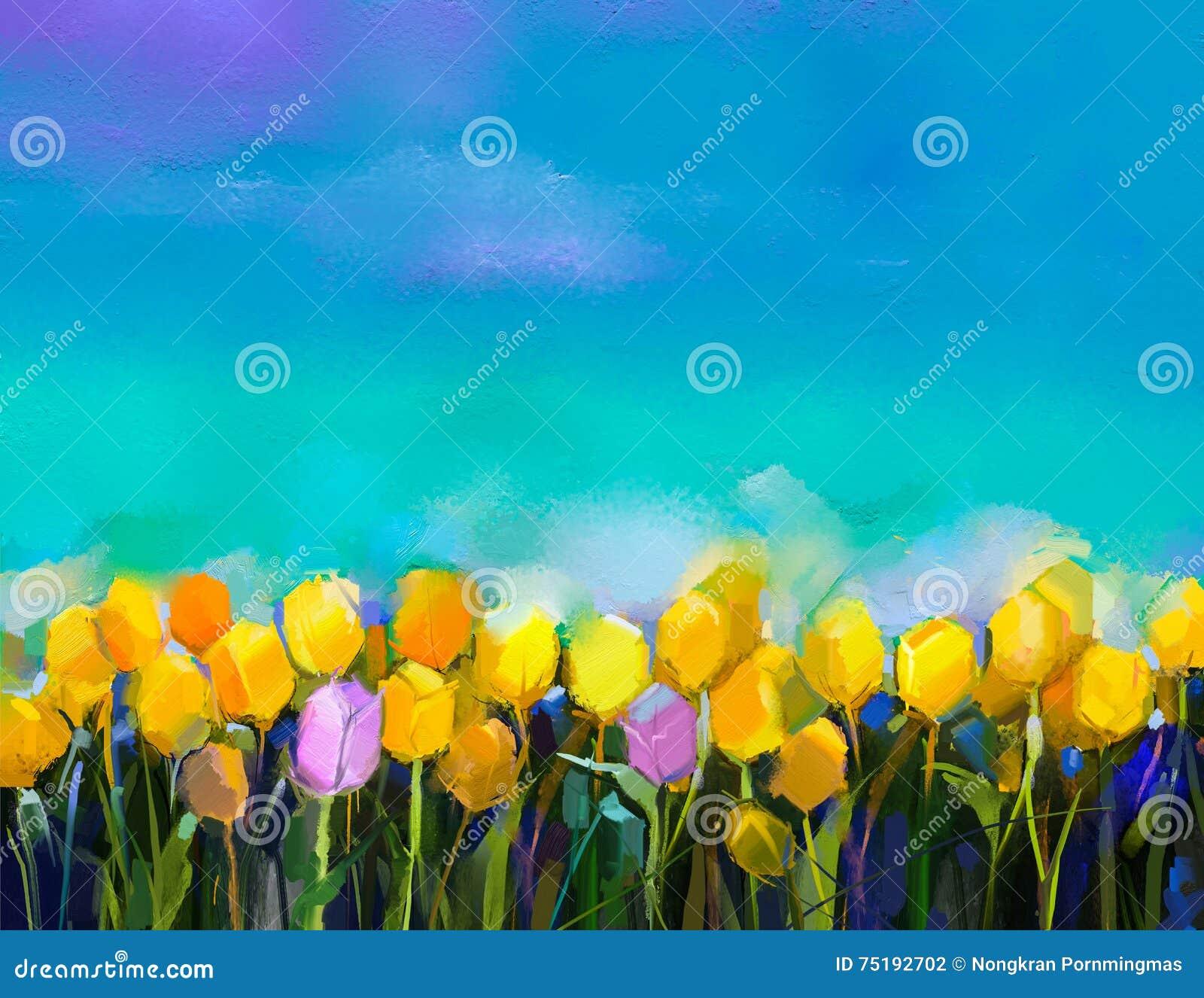 De bloemen van olieverfschilderijtulpen Bloeit de gele en violette tulp van de handverf bij gebied met groenachtig blauwe hemelac
