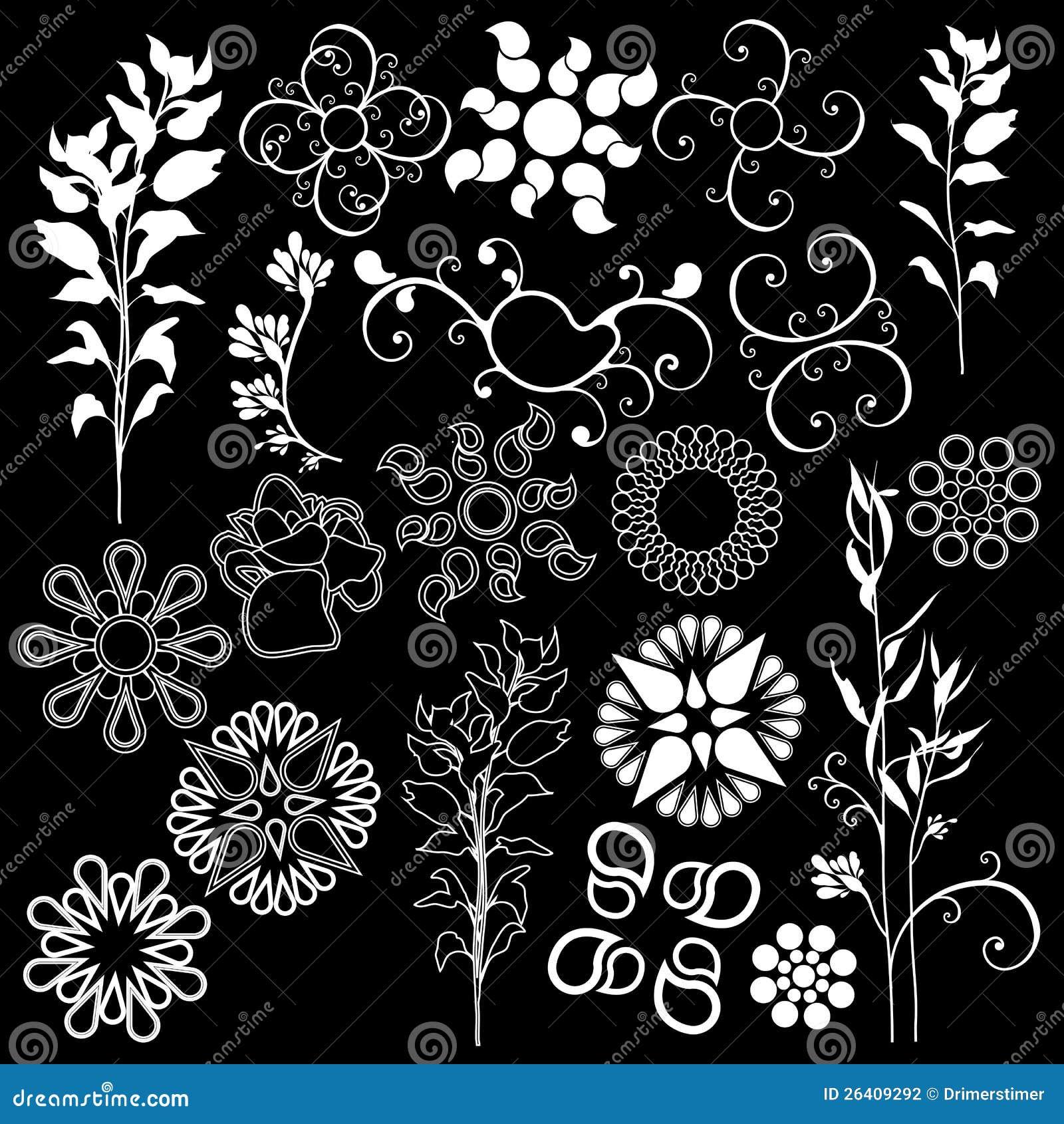 De bloemen zwarte achtergrond van ontwerpelementen