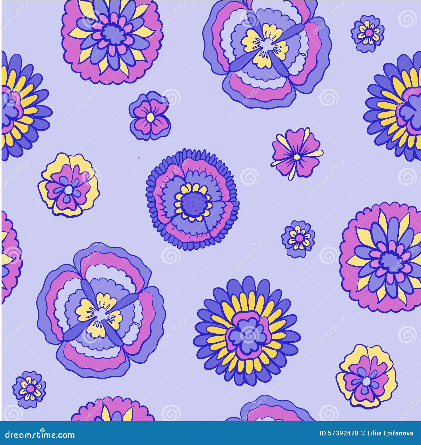 De bloemenillustratie van de patroonkrabbel