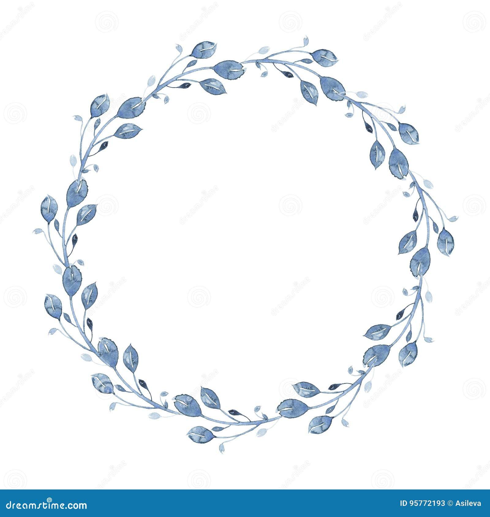 De bloemenkroon van de waterverfindigo met takje, tak en abstracte bladeren