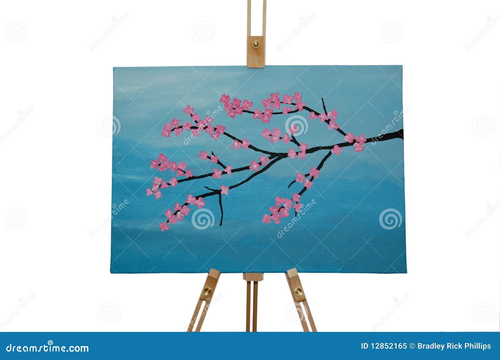 De bloesem van de kers het schilderen stock foto's– 204 de bloesem ...