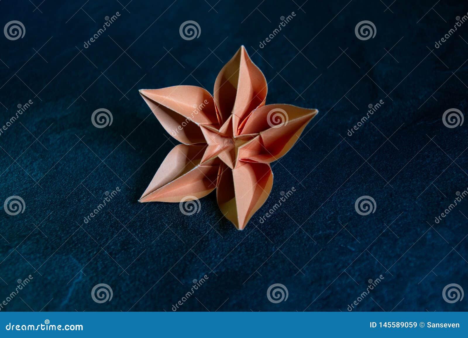 De Bloesem van de origamibloem - Document Kunst op Geweven Achtergrond