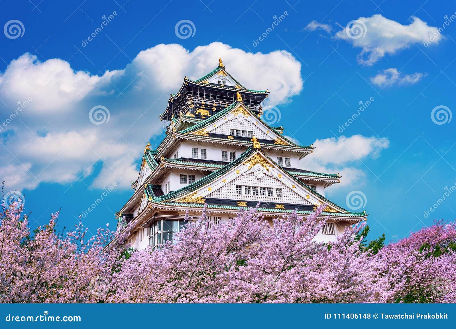 De bloesem van Osaka Castle en van de Kers in de lente Sakuraseizoenen in Osaka, Japan