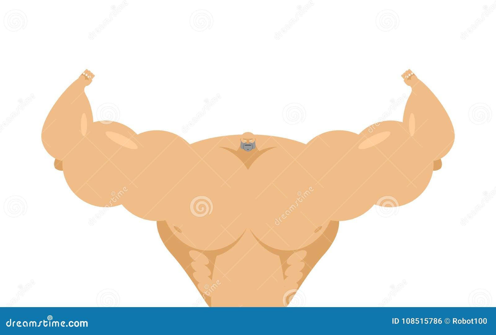 De bodybuilder is groot met klein hoofd Partij van spiermassa Sterke a