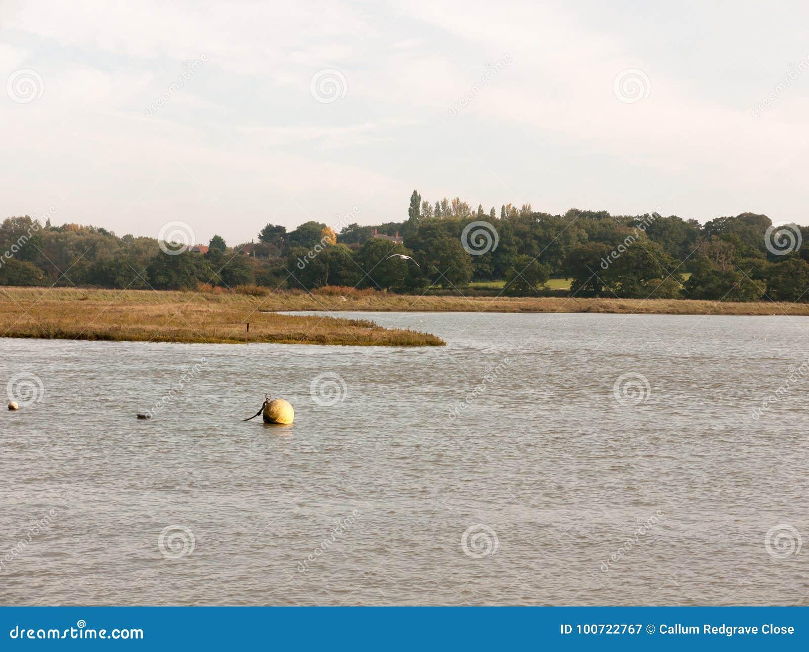 De boei die van de jachthavenbal op het landschap van de waterscène drijven