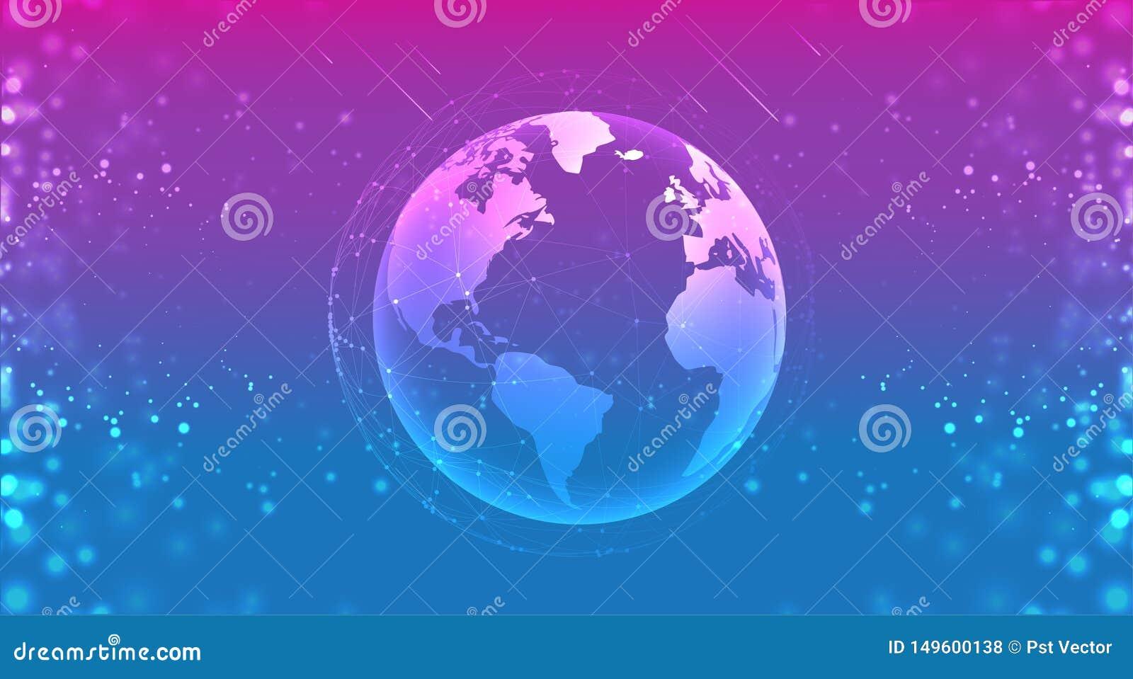 De bol van de aardeplaneet in het ruimte purpere blauw de lijnsamenstelling van verbindingensystemen rond aardeconcept