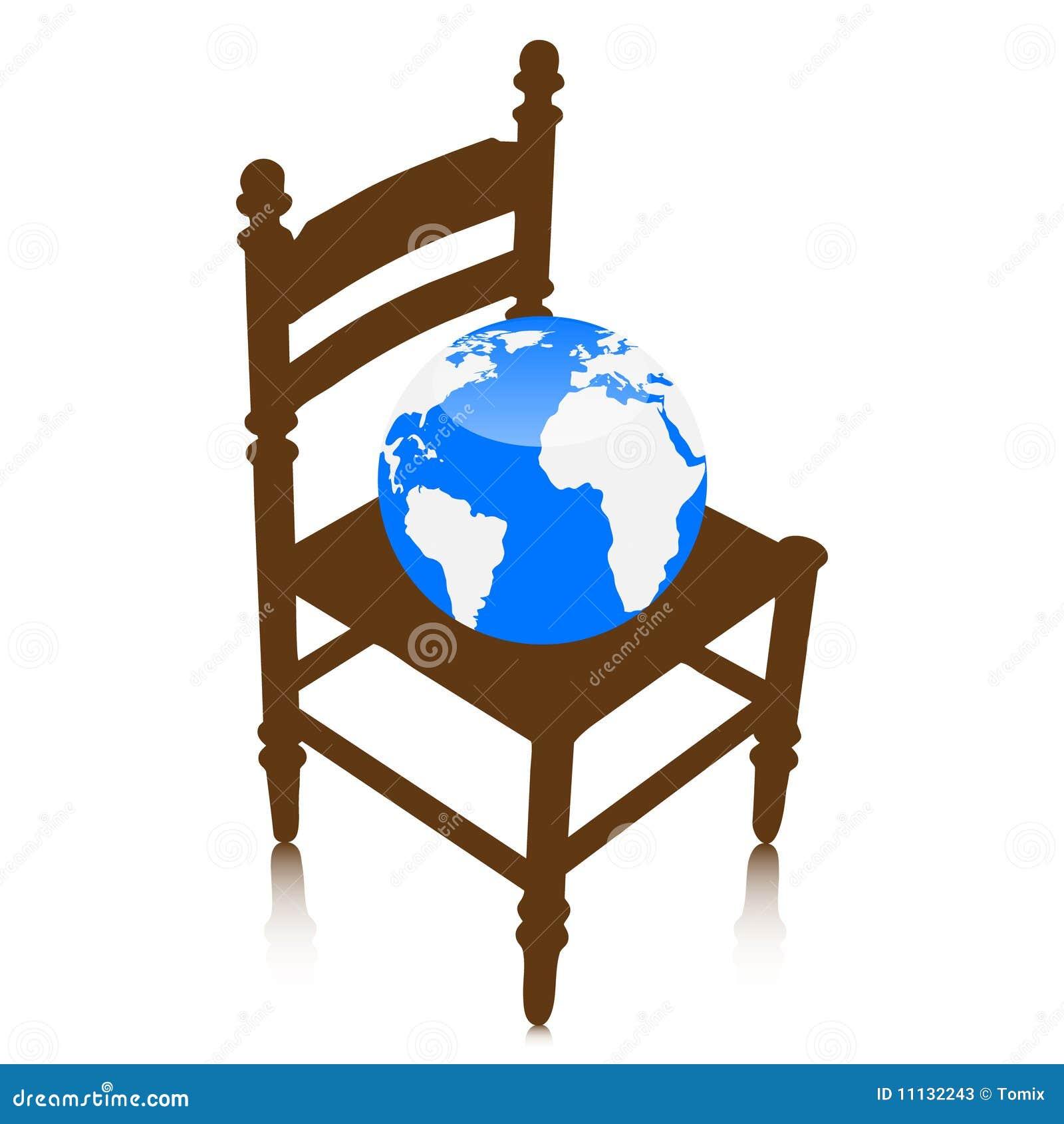 Bol Com Stoelen.De Bol Van De Wereld Op Stoel Vector Illustratie Illustratie