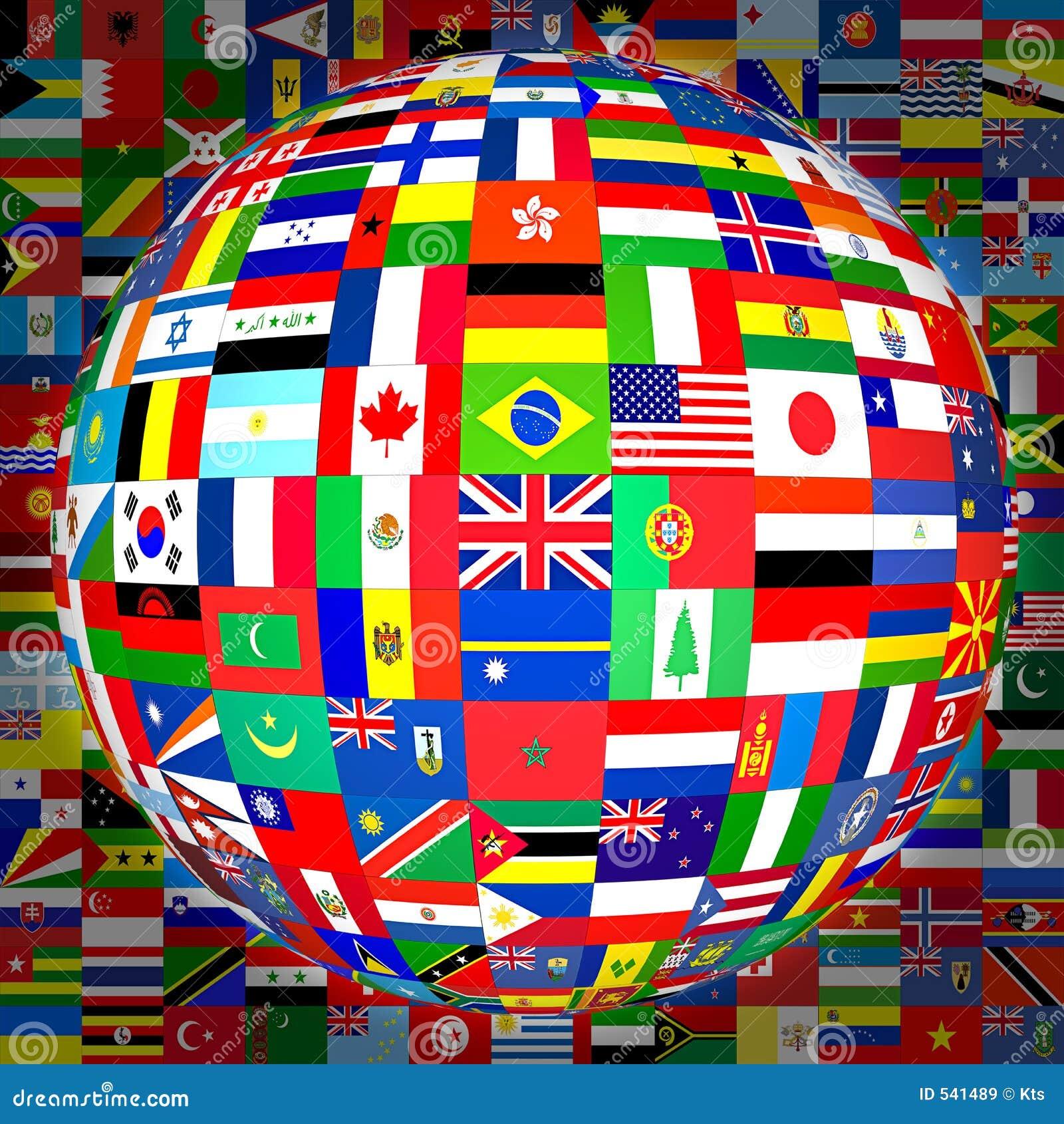 De bol van vlaggen (met achtergrond)