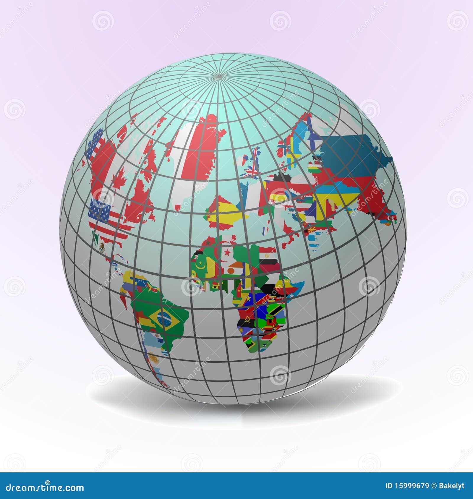 De bol van vlaggen met de kaart van de wereld vector illustratie afbeelding 15999679 - Basket thuis van de wereld ...