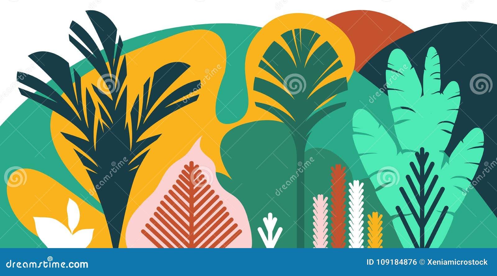 De bomen zijn breedbladige tropisch, varens Vlakke stijl Behoud van het milieu, bossen park, openlucht