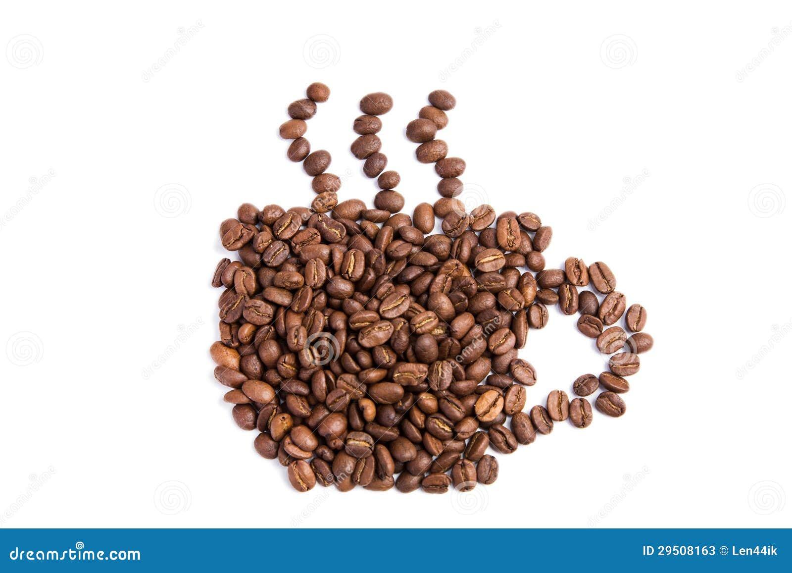 De bonen van de koffie in een vorm van koffiekop