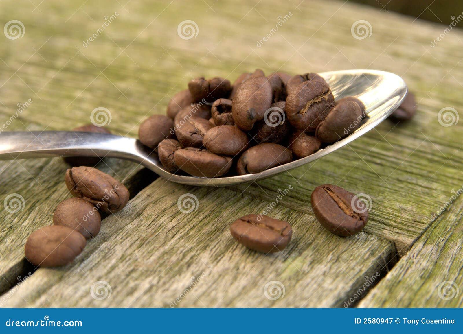 De bonen van de koffie op lepel 01