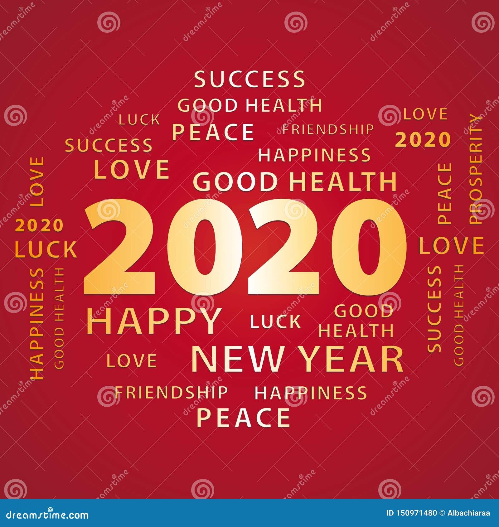 carte de vœux 2020 Or De 2020 Bonnes Années Et Carte De Voeux Rouge Illustration de
