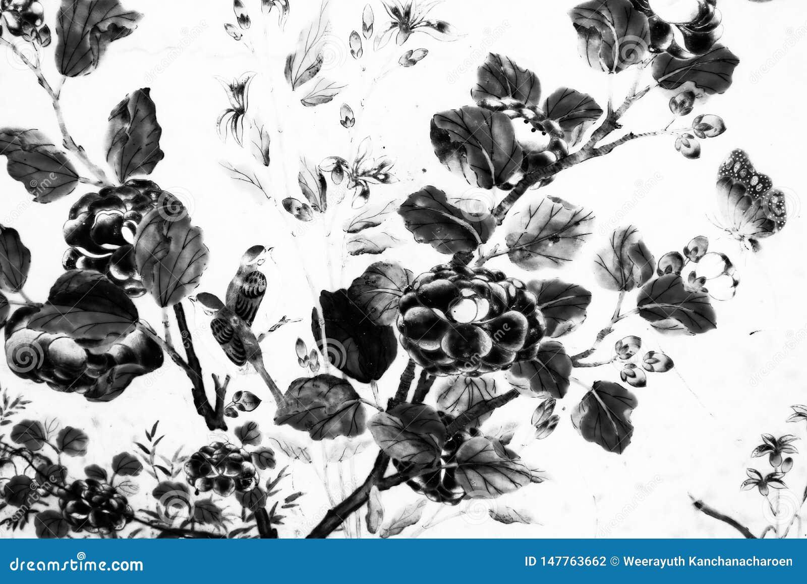 De Boom en van de Bloemenkunst schilderijen isoleerden zwart-wit langs de galerijen