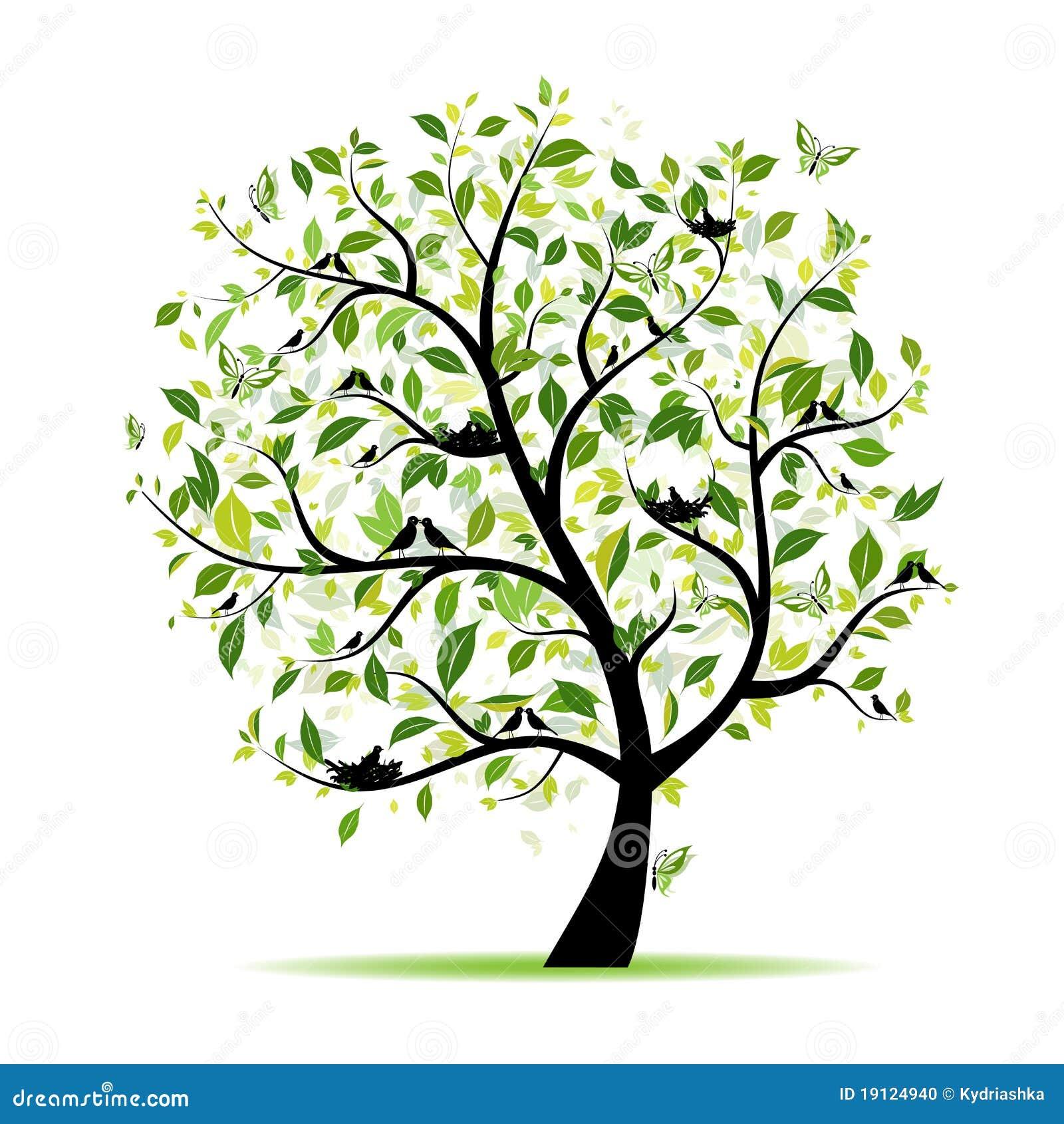 De boom van de lente groen met vogels voor uw ontwerp vector illustratie afbeelding 19124940 - Boom ontwerp ...
