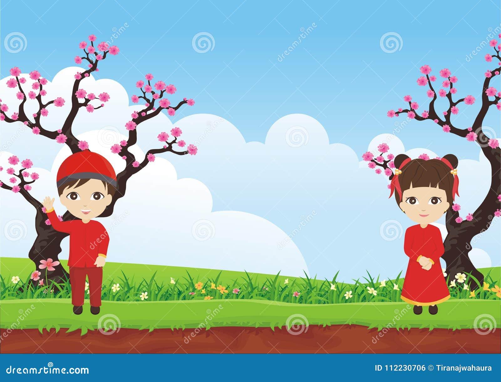 De boom van de pruimbloesem met Chinees jong geitje twee en mooi landschap