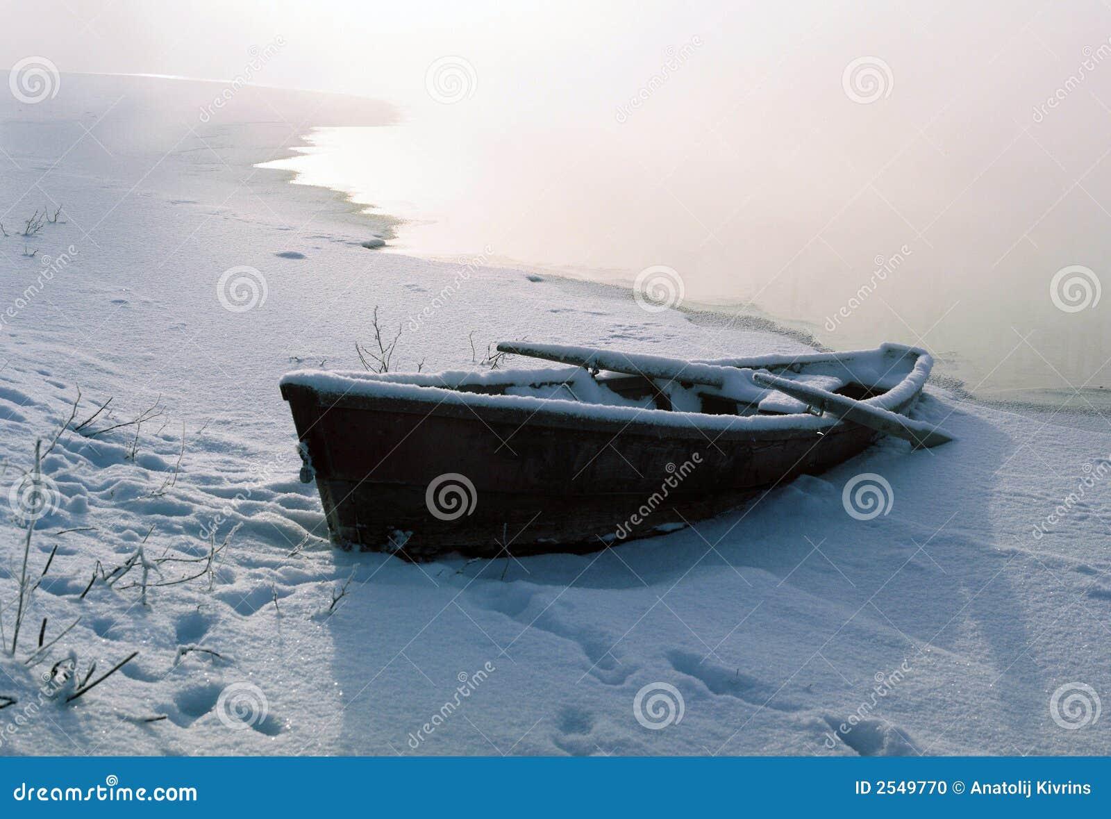 De boot in de winter