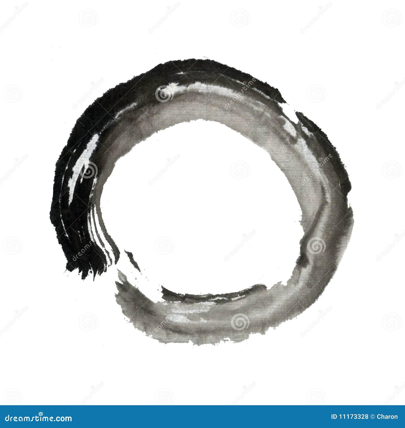 De borstel van zen het schilderen cirkelring royalty vrije - Blanco y negro paint ...