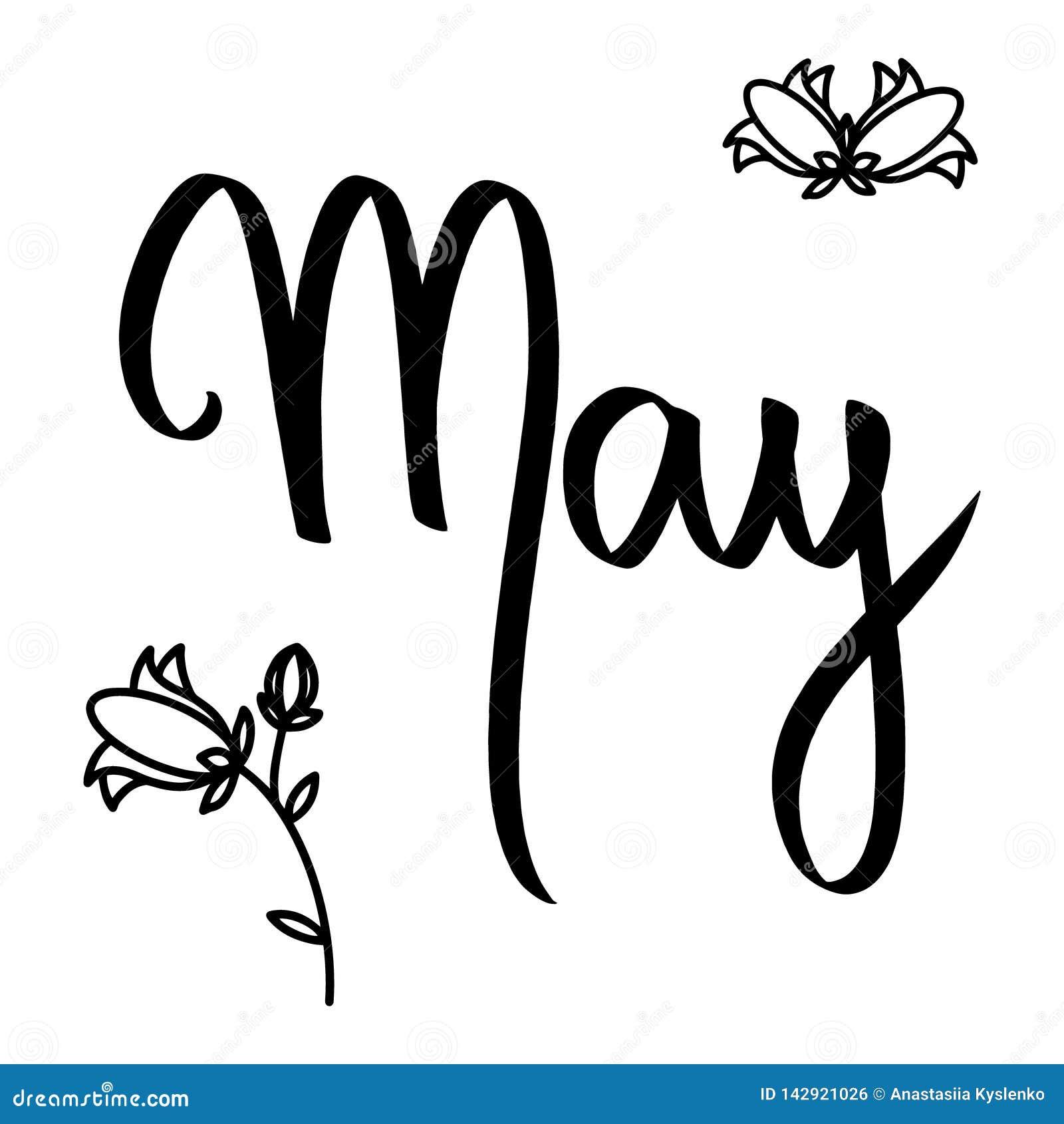 De borstelhand van maandmei het van letters voorzien op witte achtergrond, klokjes r Vectorteken met zwarte bloemen