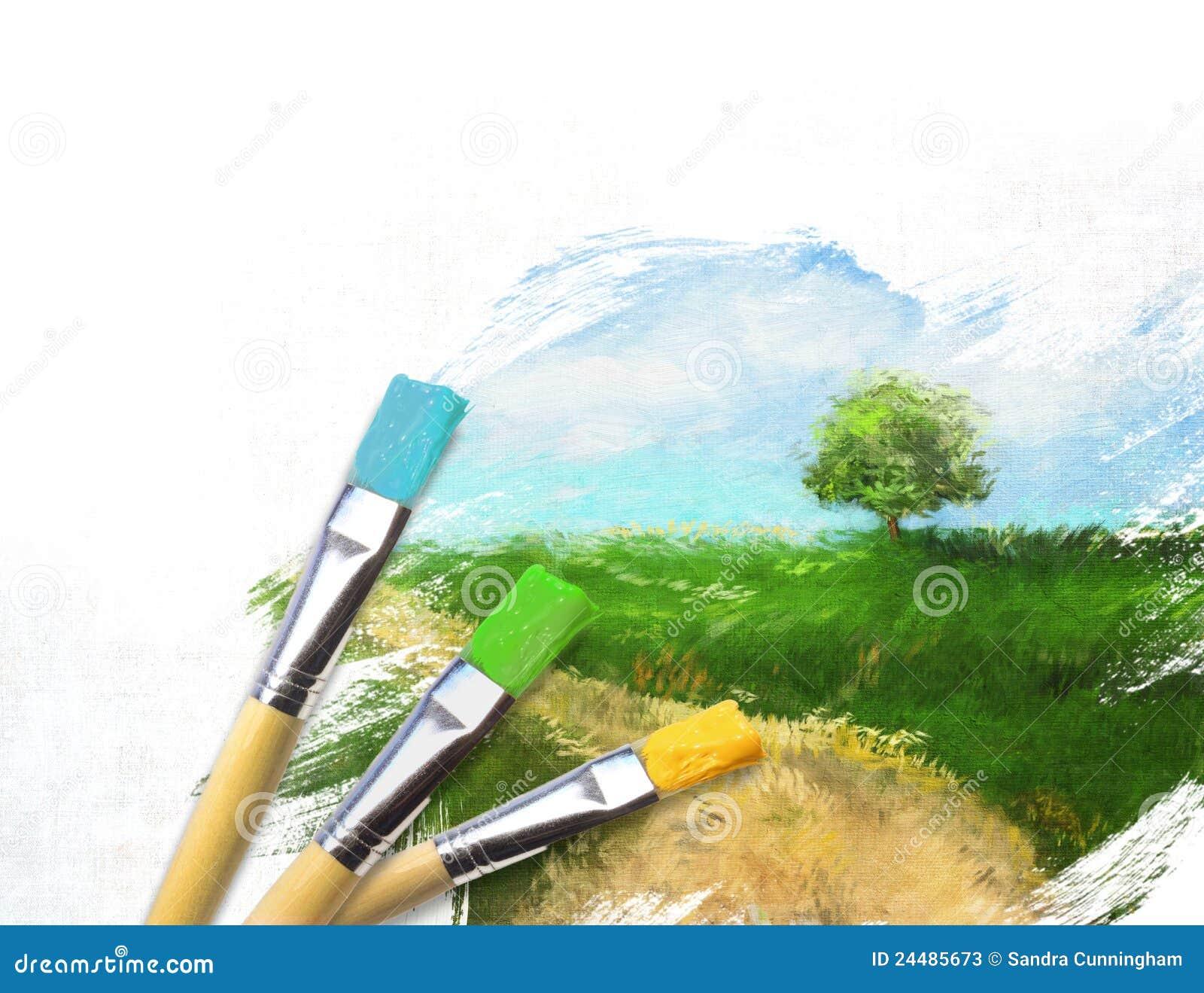 De borstels van de kunstenaar met een half gebeëindigd geschilderd canvas