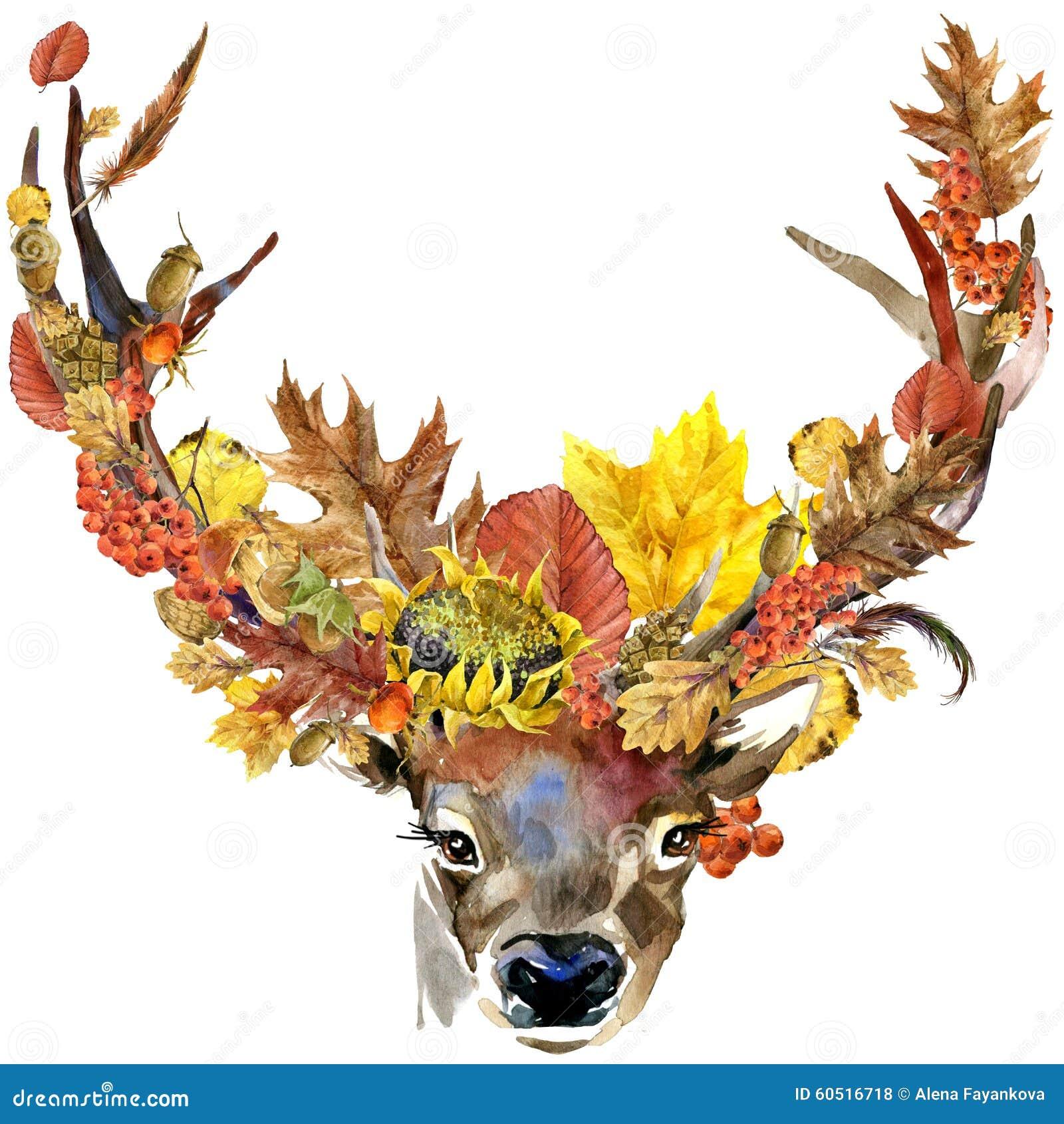 De bos dierlijke achtergrond van de aard kleurrijke bladeren van de reeënherfst, fruit, bessen, paddestoelen, gele bladeren, roze