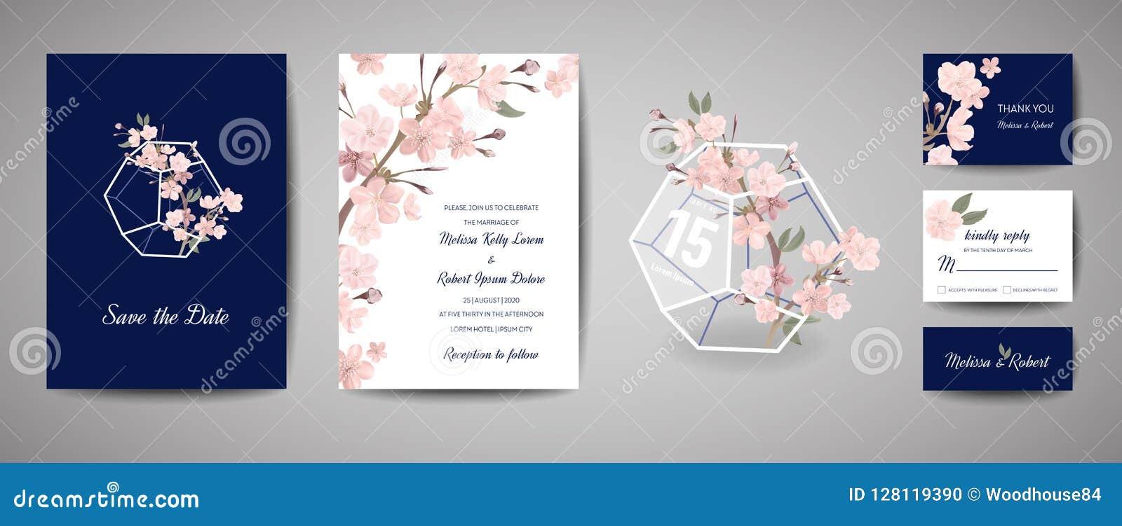 De botanische retro kaart van de huwelijksuitnodiging, wijnoogst sparen de Datum, malplaatjeontwerp van sakura bloeit en gaat, ke