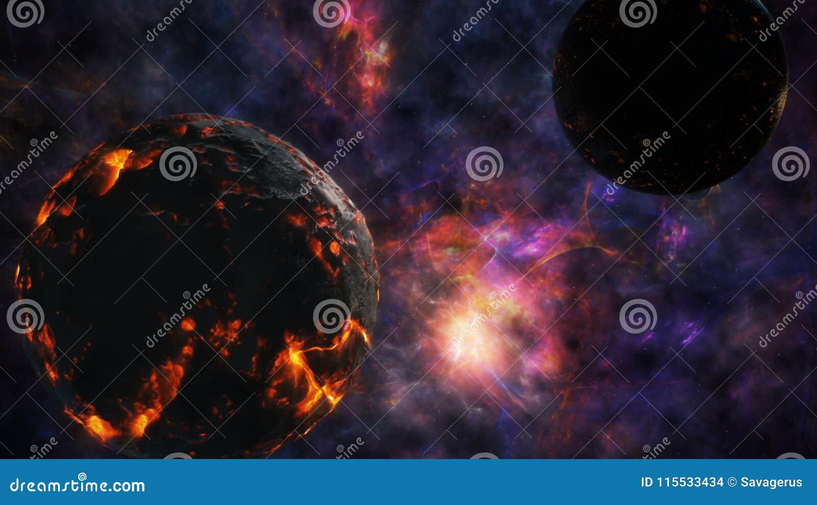 De botsing van twee planeten op de achtergrond van het heelal