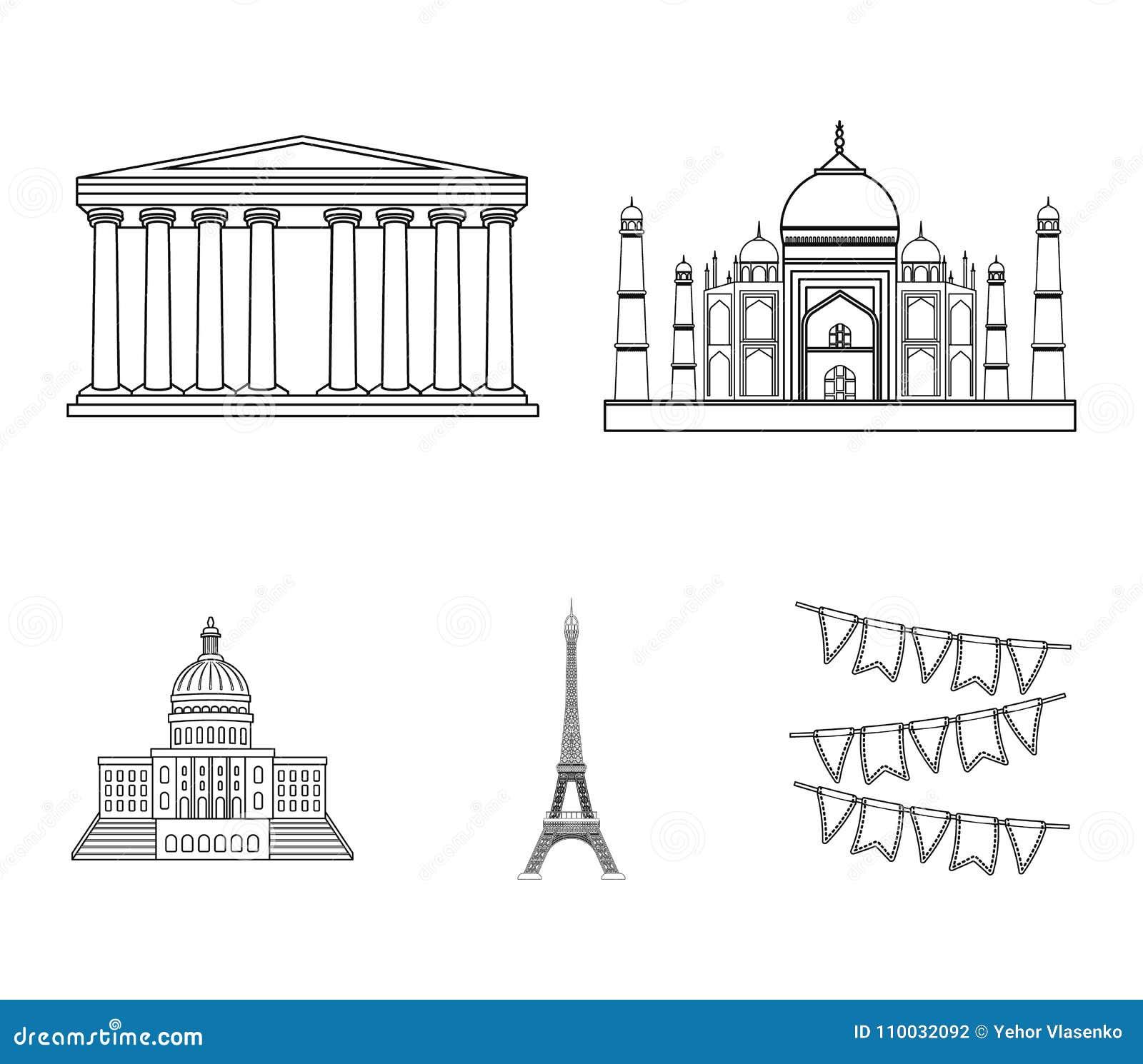 De bouw, het interesseren, plaats, toren Vastgestelde de inzamelingspictogrammen van het land van landen in vector het symboolvoo