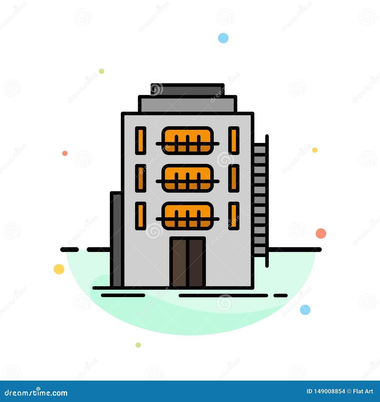 De bouw, Stad, Slaapzaal, Herberg, het Pictogrammalplaatje van de Hotel Abstract Vlak Kleur