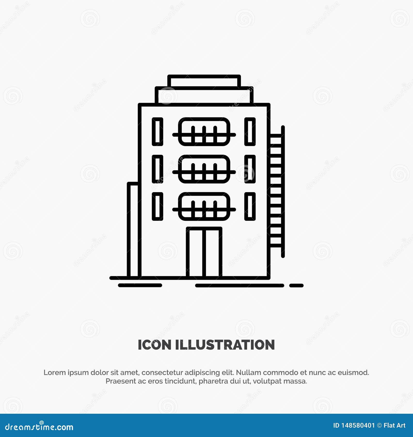 De bouw, Stad, Slaapzaal, Herberg, het Pictogramvector van de Hotellijn