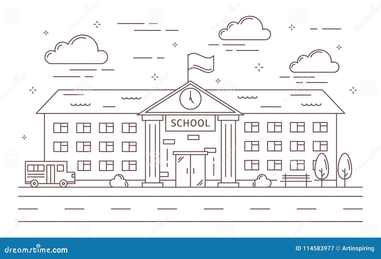 De bouw van de lijnschool