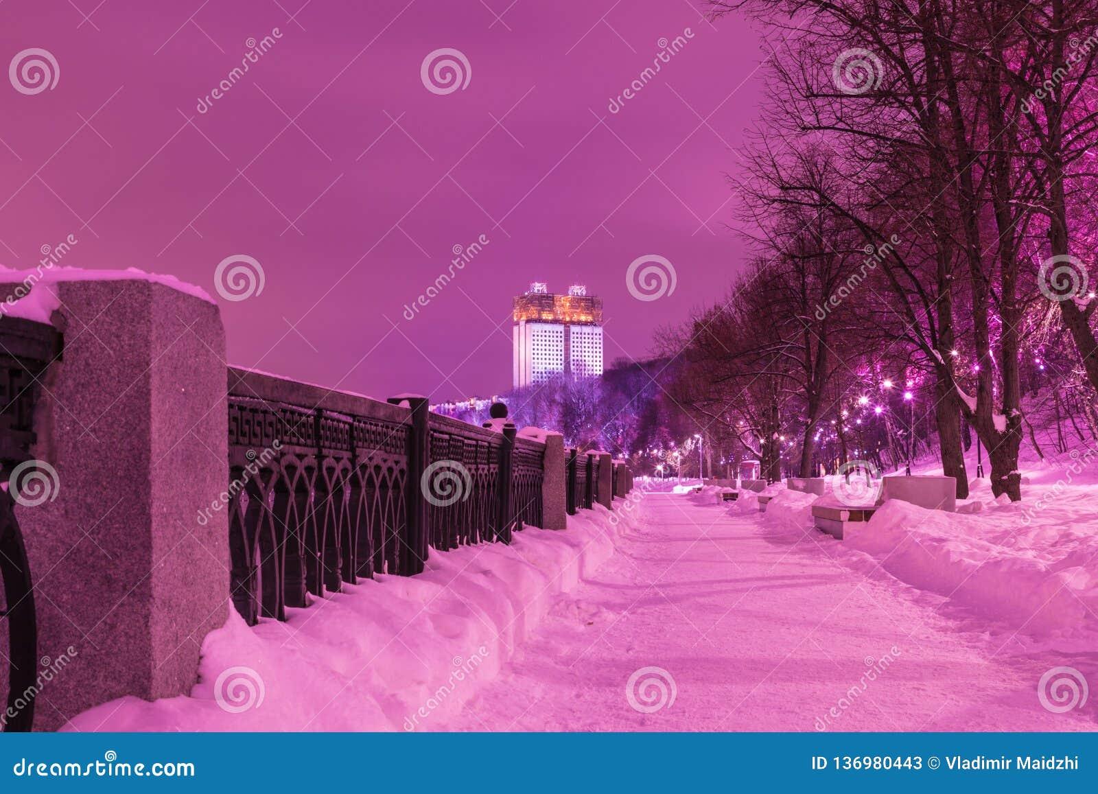 De bouw van de Russische Academie van Wetenschappen in Moskou in de bewolkte de winteravond of de nacht, mening van de dijk van M
