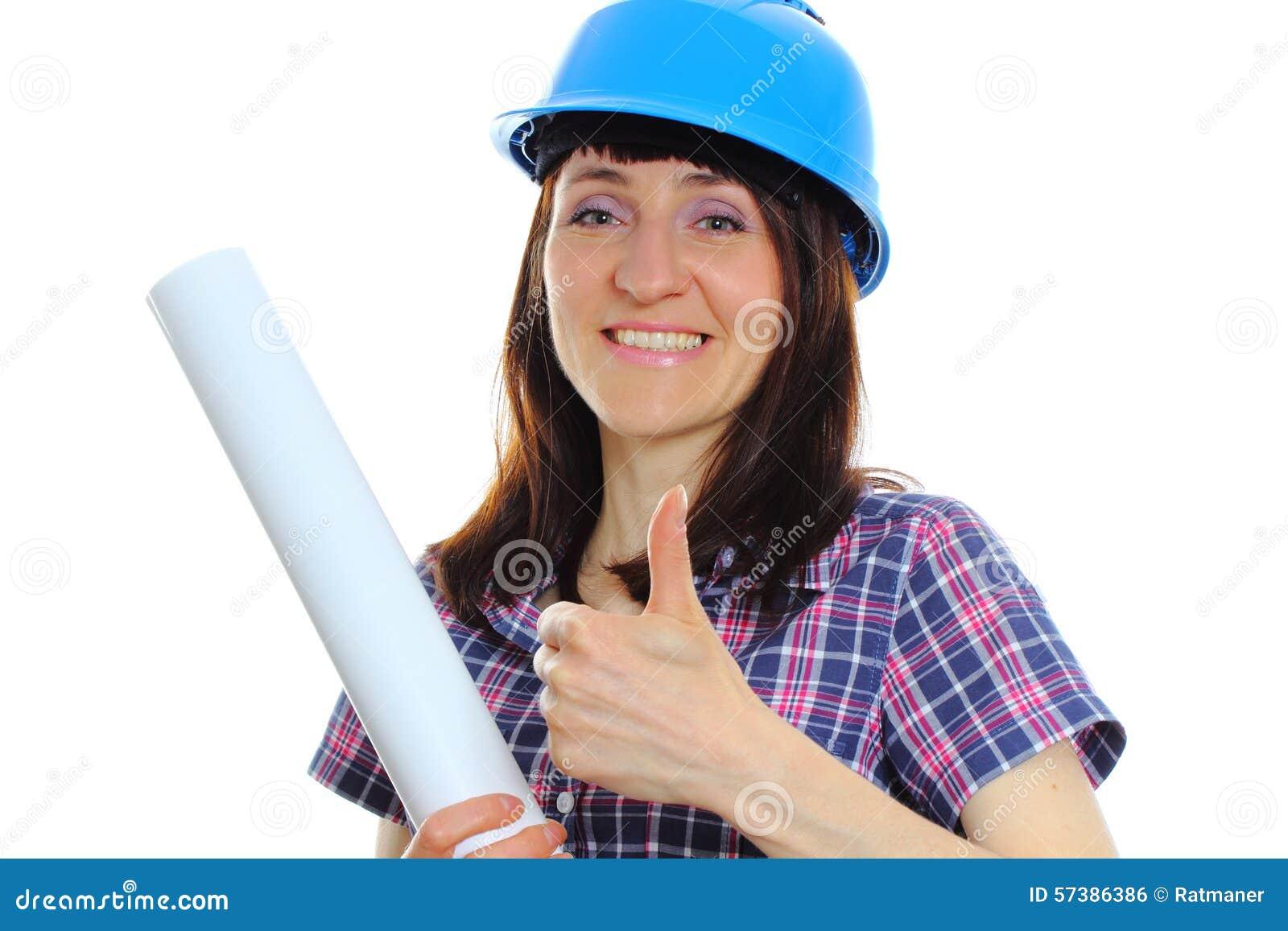 De bouwersvrouw in blauwhelm het tonen beduimelt omhoog