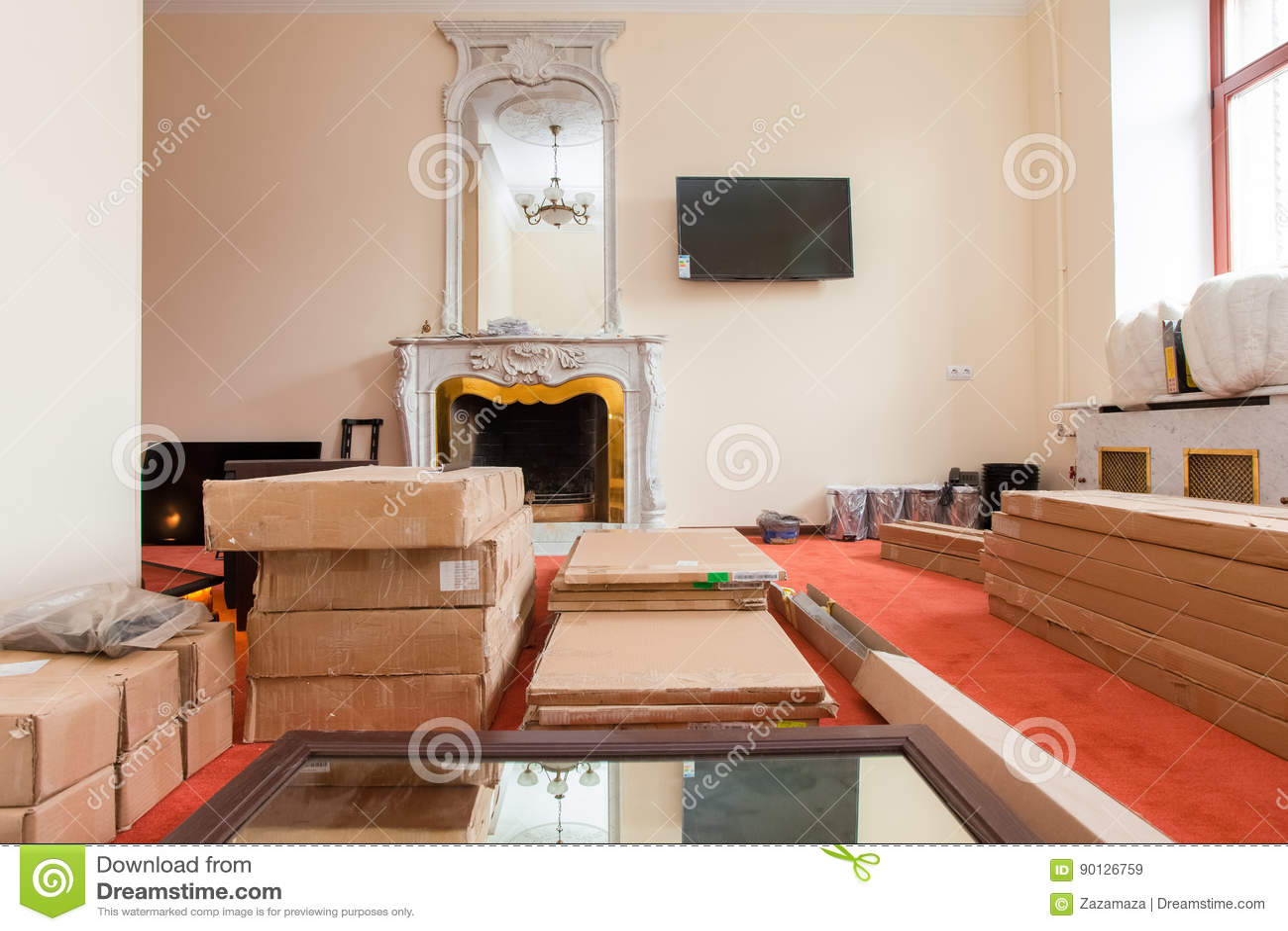 Tv In Vloer : De bouwmaterialen het meubilair tv en de telefoon zijn op de vloer