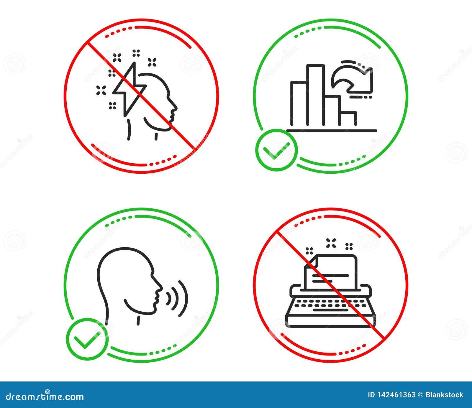 De brainstorming, het Verminderen de grafiek en de Mens zingen geplaatste pictogrammen Schrijfmachineteken Bliksembout, Kolomdiag