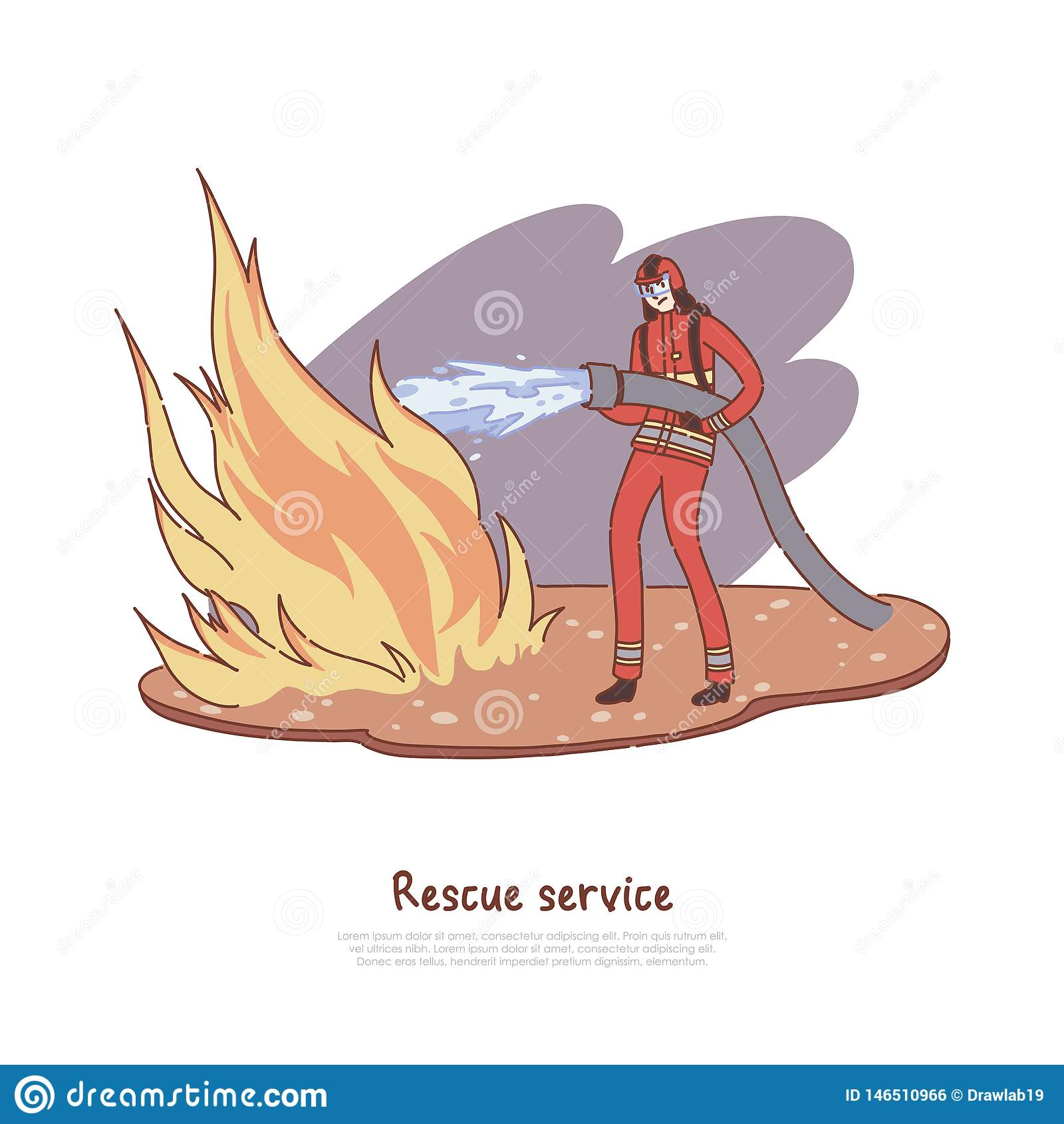 De brandbestrijder dooft brand met water, moedige brandweerman in eenvormige holdingsslang, gevaarlijk beroep, de banner van de r